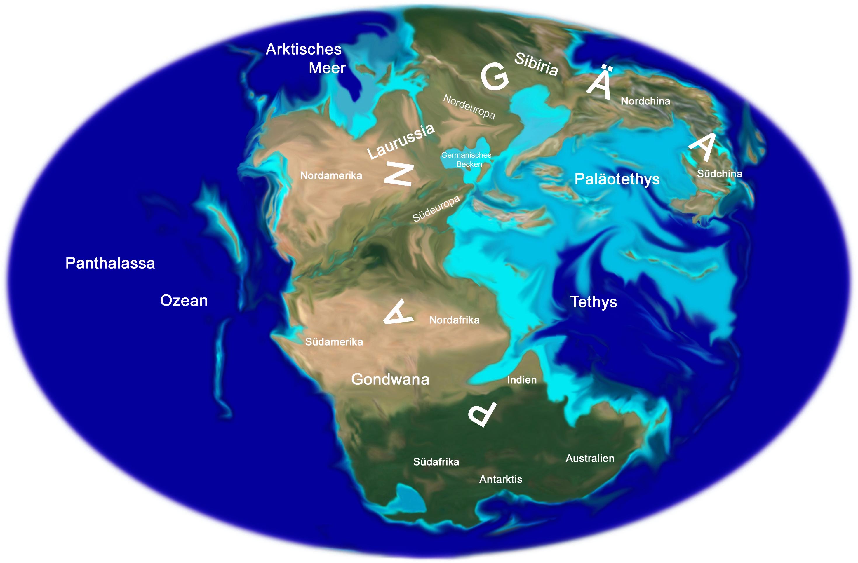 Karte Erde.Trias Weltkarte Terra Triassica